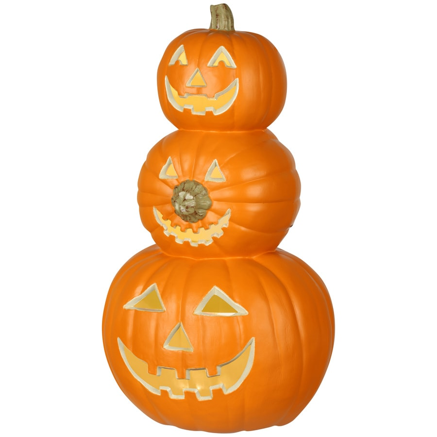 Holiday Living Pre-Lit Resin Freestanding Pumpkin Stack Sculpture with Constant White Incandescent Lights