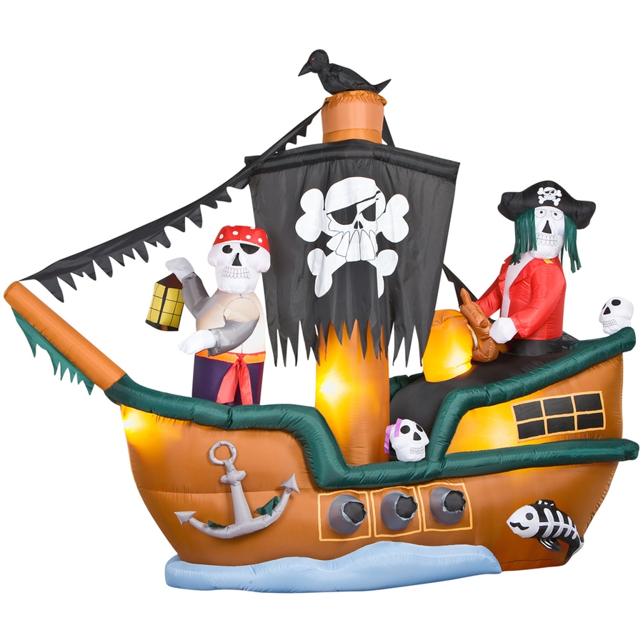 Gemmy 8-ft Animated Inflatable Halloween Skeleton Pirate Ship