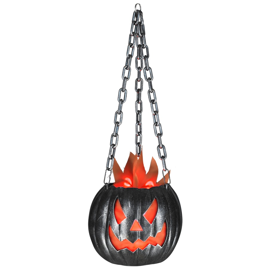 Gemmy 22.835-in Lighted Animatronic Hanging Flaming Jack-O-Lantern Indoor Halloween Decoration
