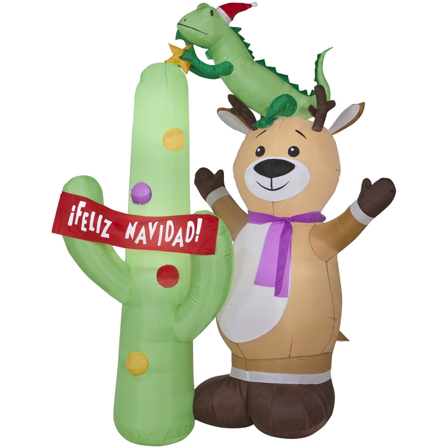 Holiday Living 6.98-ft Inflatable Fabric Christmas Reindeer with Cactus