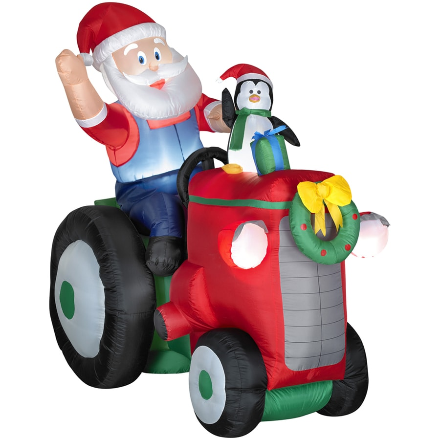 Holiday Living 5.51-ft Inflatable Fabric Christmas Santa On Tractor