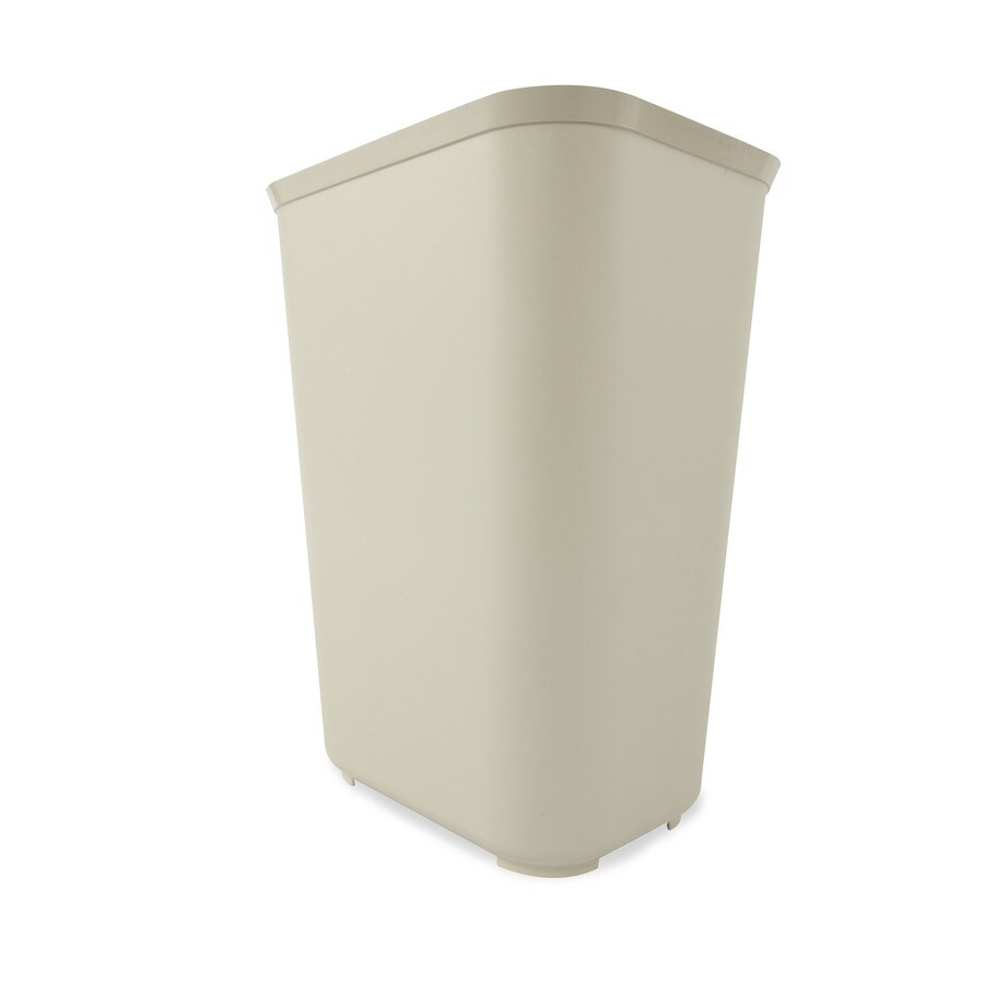 Shop rubbermaid commercial products beige wastebasket at for Beige bathroom bin