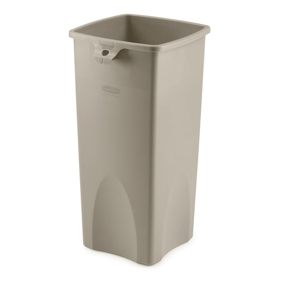 Rubbermaid Commercial Products Untouchable 23-Gallon Beige Indoor/Outdoor Garbage Can