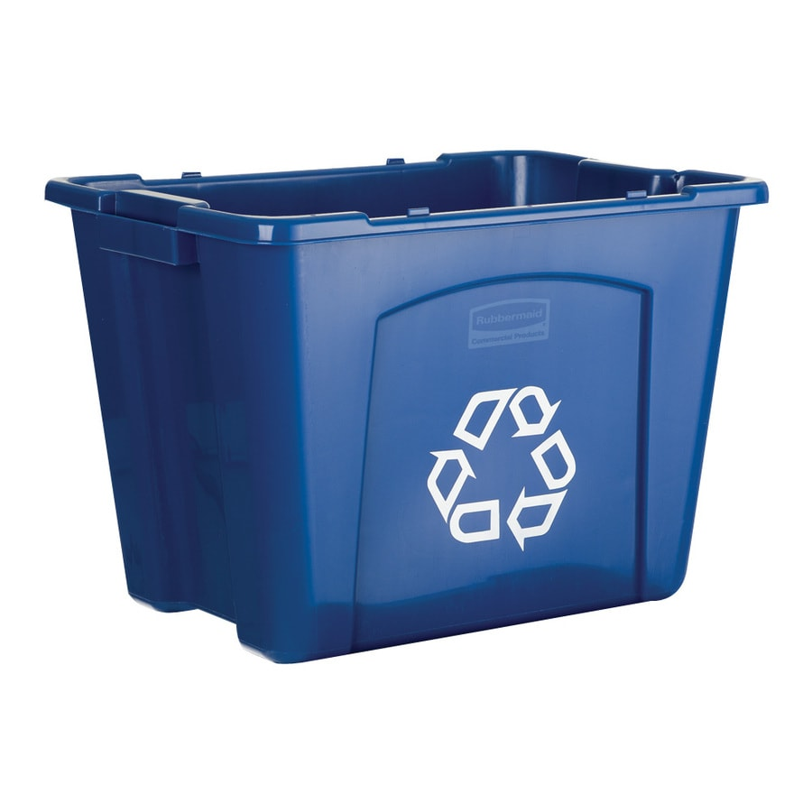 Rubbermaid Commercial Products 14-Gallon Blue Commercial Recycling Bin