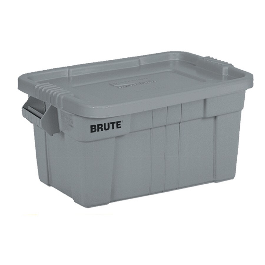 Rubbermaid Commercial Products BRUTE 14-Gallon Gray Tote with Standard Snap Lid