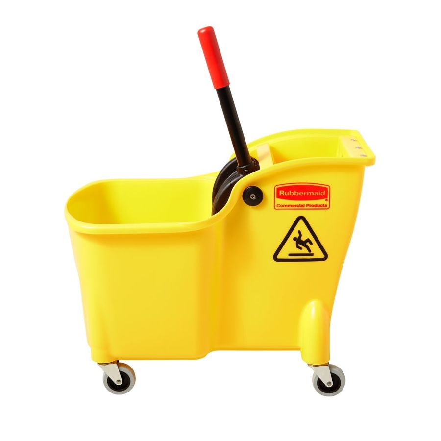 Rubbermaid Commercial Products Tandem 31-Quart Commercial Mop Wringer Bucket with Wheels