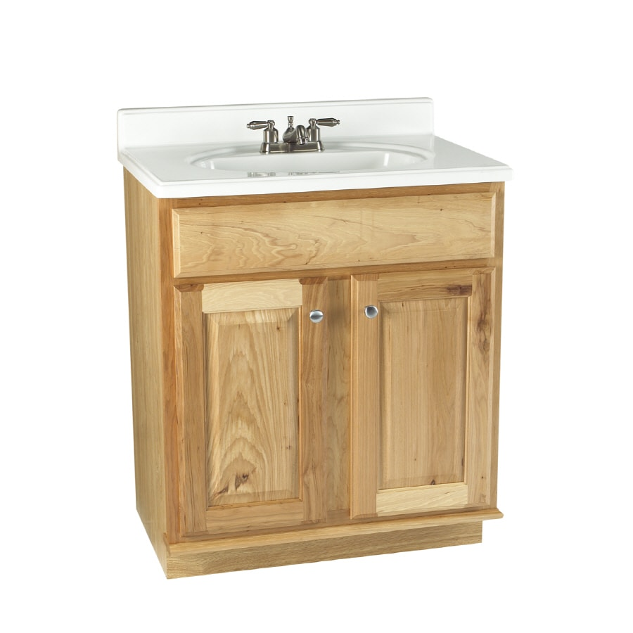Allen Roth 30 Natural Carson Hickory Natural Bath Vanity In The Bathroom Vanities Without Tops Department At Lowes Com