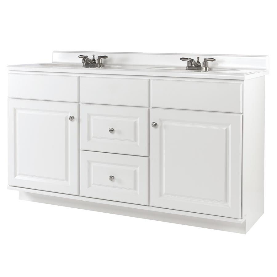allen + roth Castlebrook White Traditional Bathroom Vanity (Actual: 60-in x 21-in)
