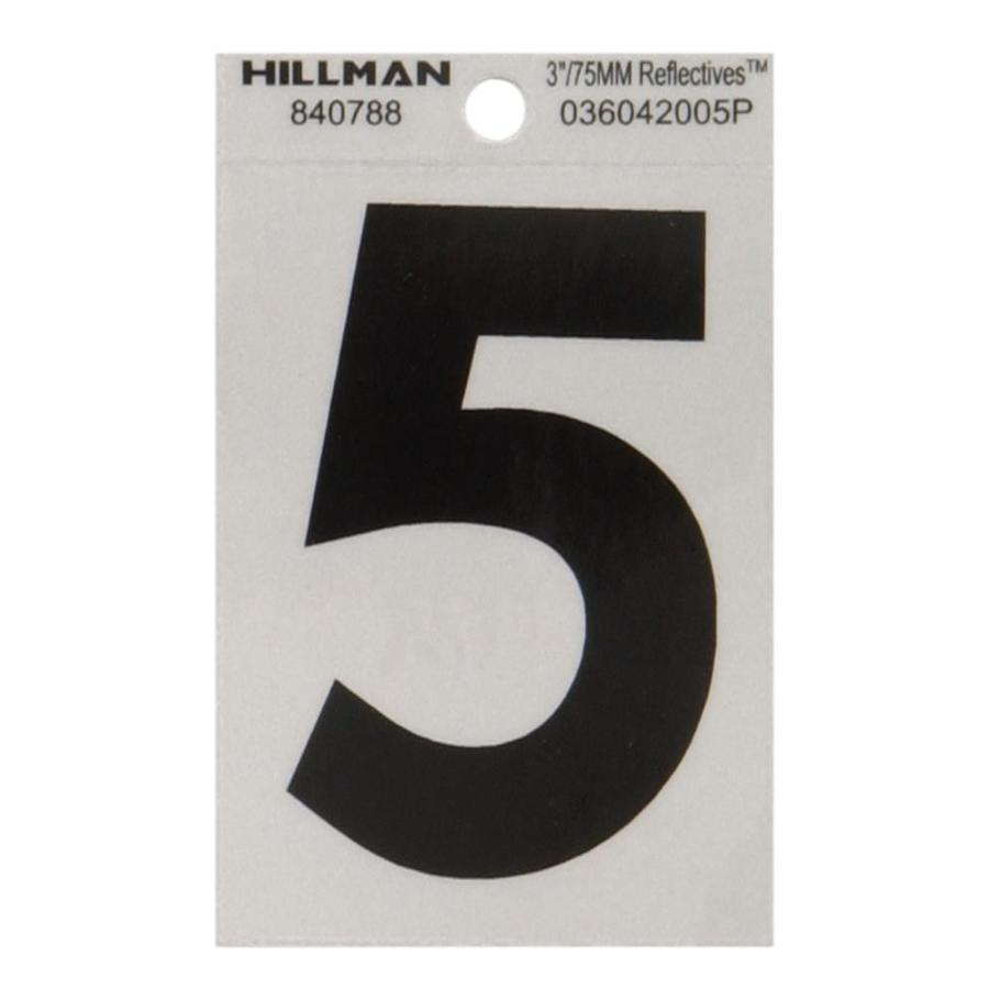 The Hillman Group 3-in Black and Silver Reflective House Number 5