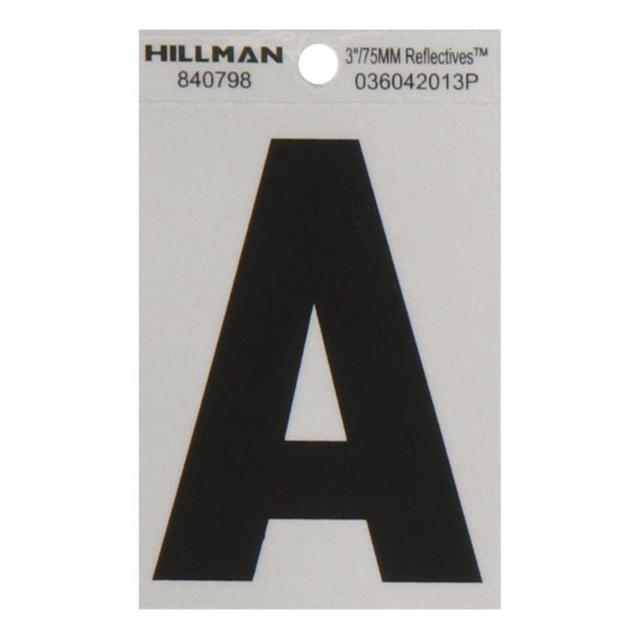 The Hillman Group 3-in Black and Silver Reflective House Letter A
