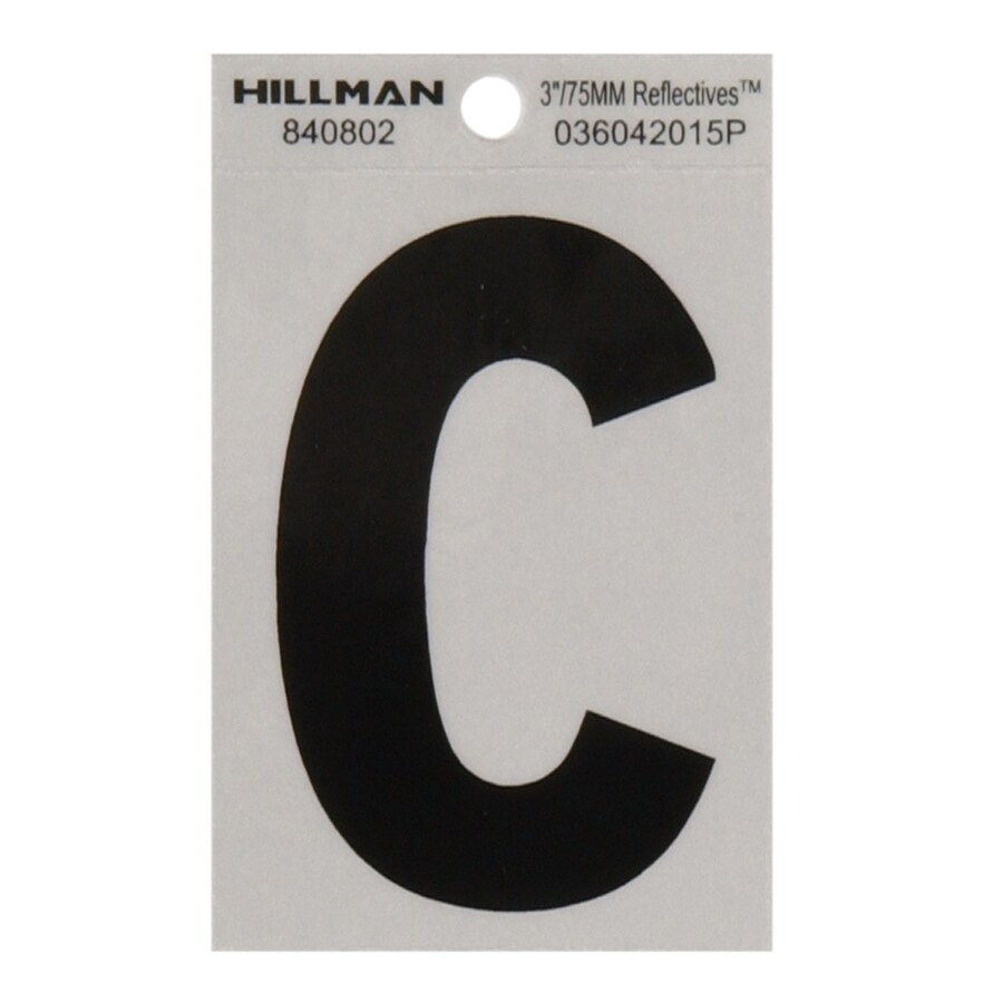 The Hillman Group 3-in Black and Silver Reflective House Letter C