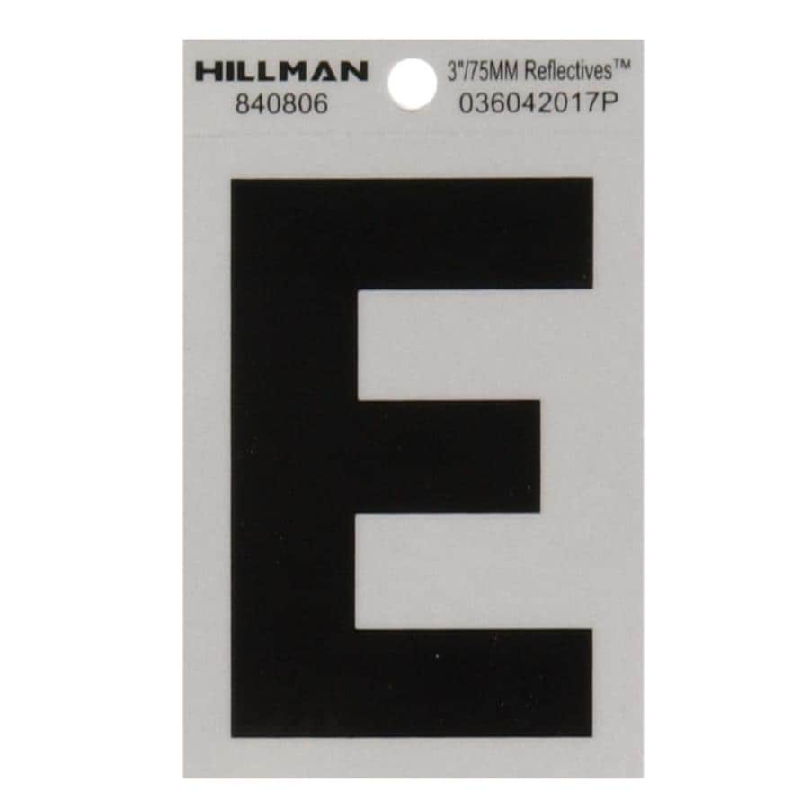 The Hillman Group 3-in Black and Silver Reflective House Letter E