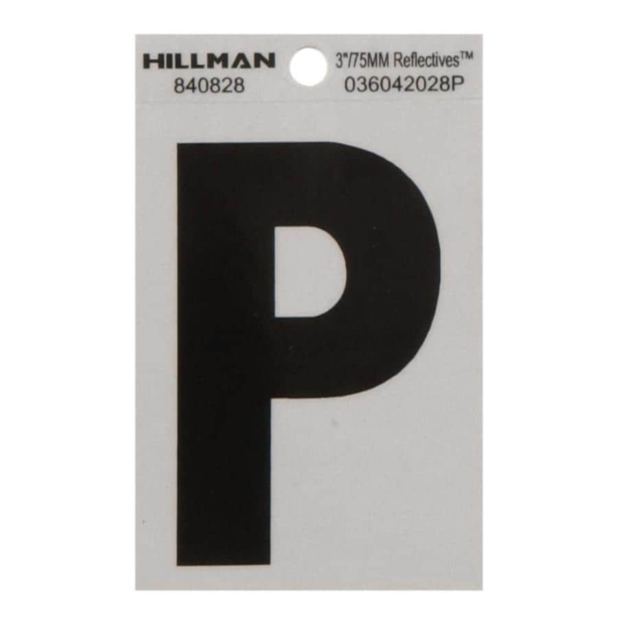 The Hillman Group 3-in Black and Silver Reflective House Letter P