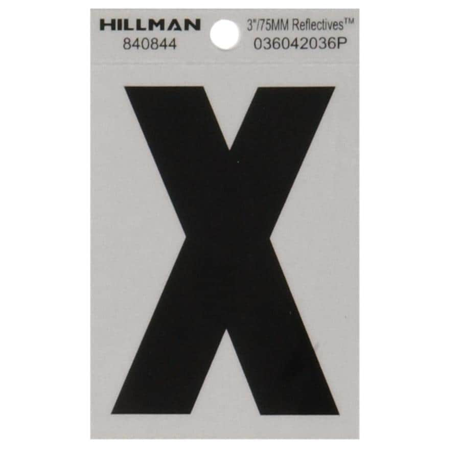 The Hillman Group 3-in Black and Silver Reflective House Letter X