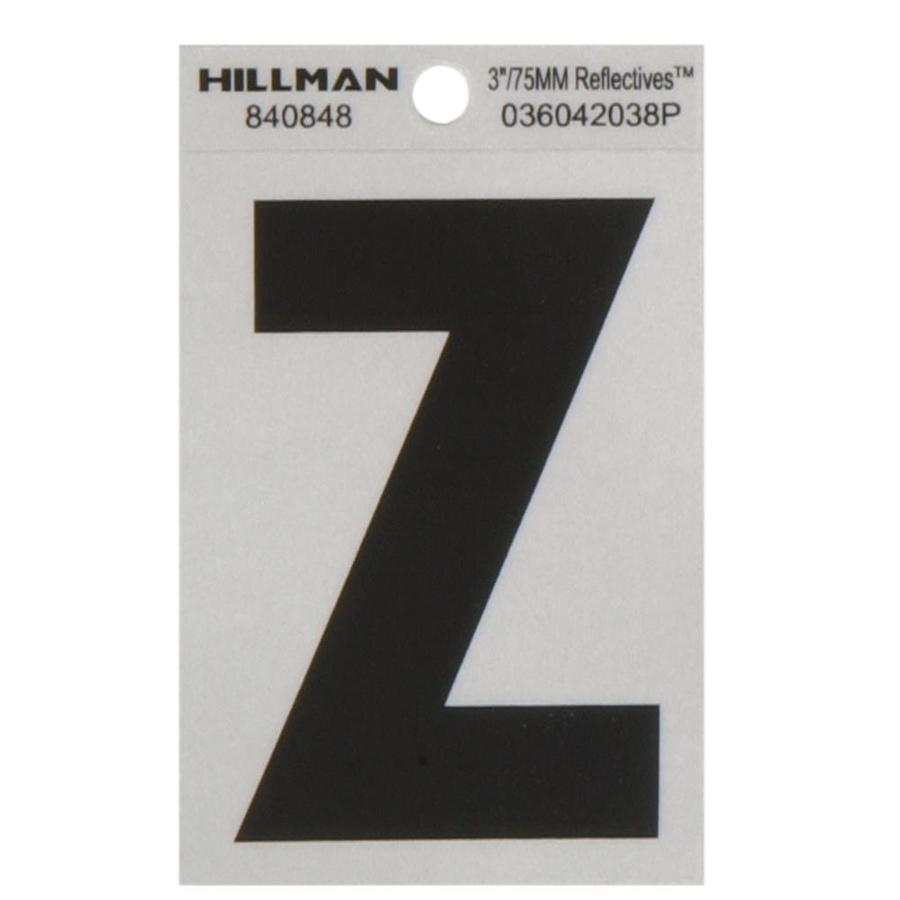 The Hillman Group 3-in Black and Silver Reflective House Letter Z