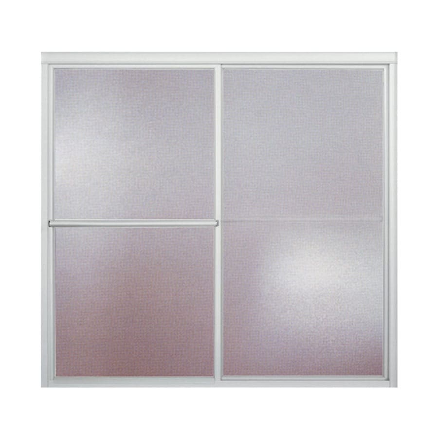 Sterling Deluxe 57.75-in W x 56.25-in H Silver Bathtub Door