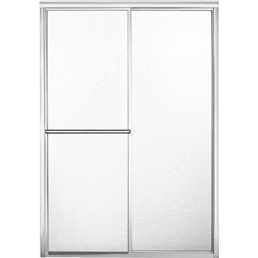 Sterling Deluxe 43.875-in to 48.875-in W x 70-in H Silver Sliding Shower Door