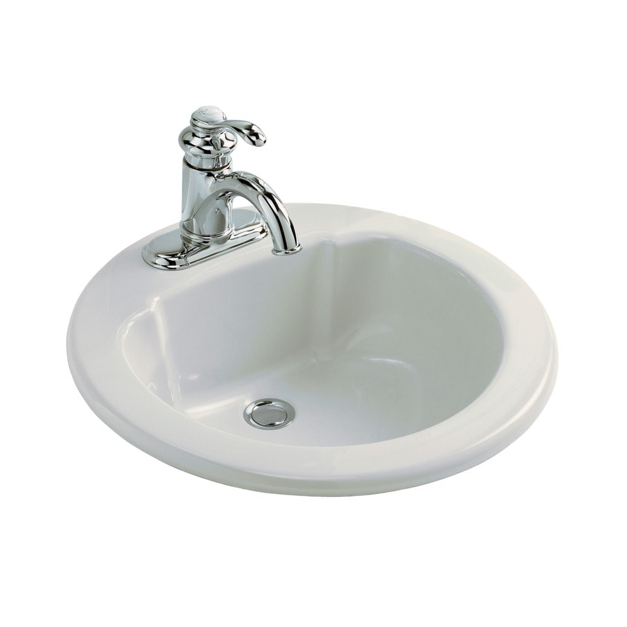 Sterling White Composite Drop-In Round Bathroom Sink with Overflow