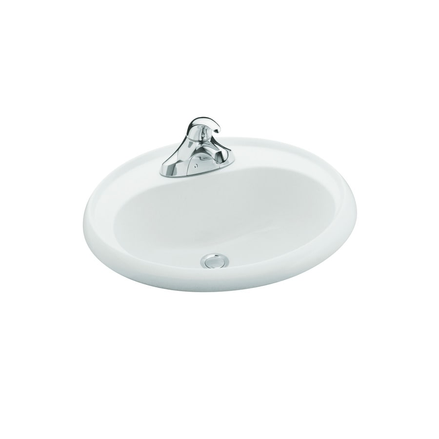 Sterling White Composite Drop-In Oval Bathroom Sink with Overflow