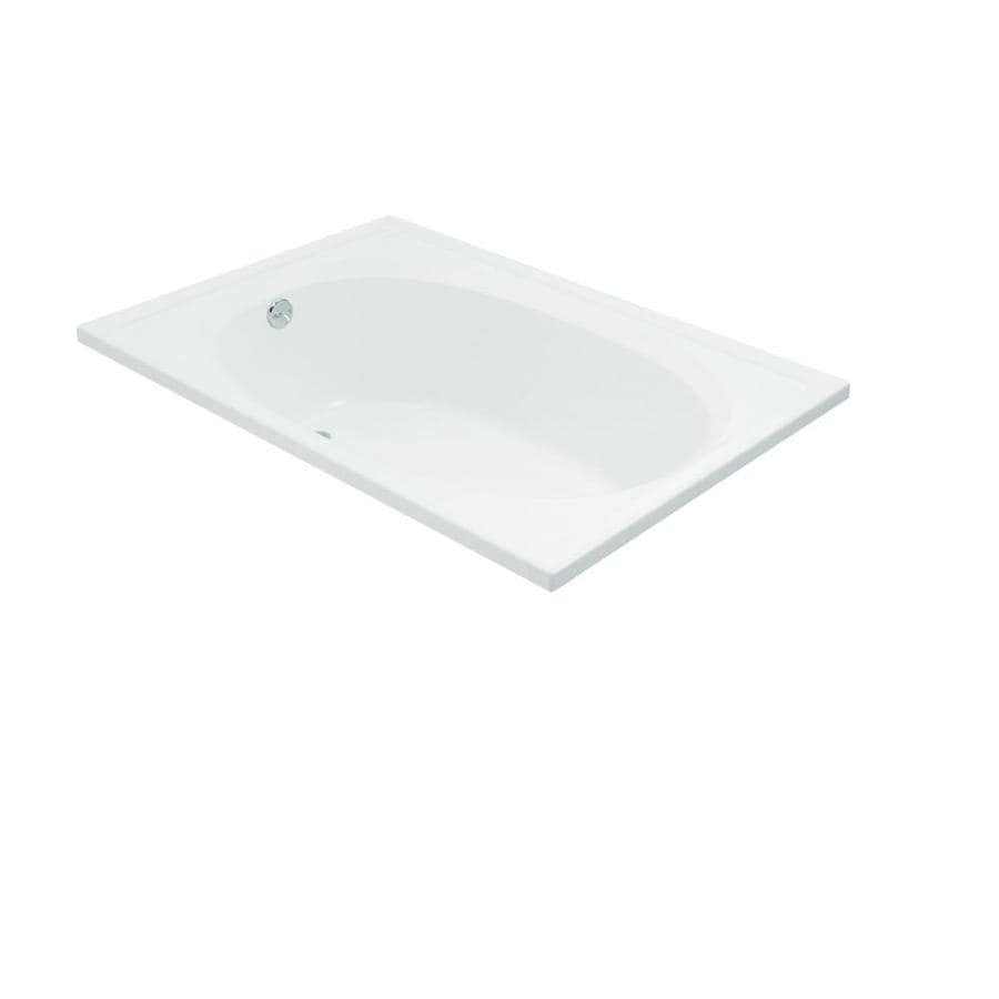 Sterling Tranquility White Fiberglass and Plastic Composite Oval In Rectangle Drop-In Bathtub with Reversible Drain (Common: 42-in x 60-in; Actual: 18.125-in x 42-in x 60.25-in)