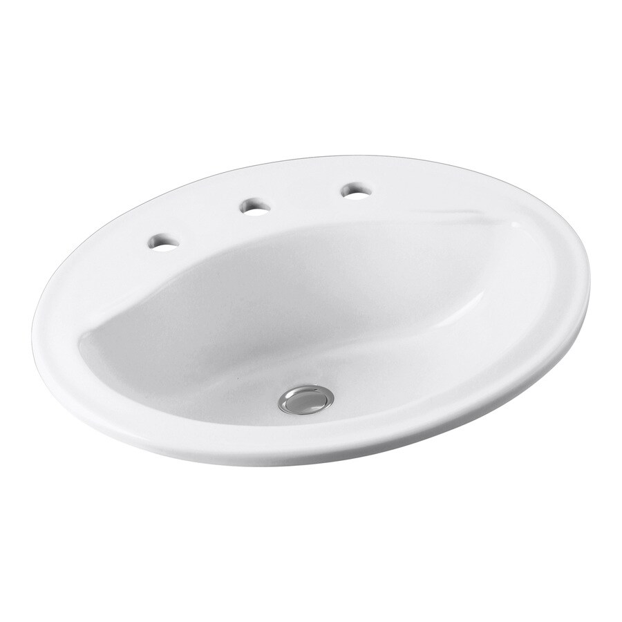 Sterling Sanibel White Drop-In Oval Bathroom Sink with Overflow