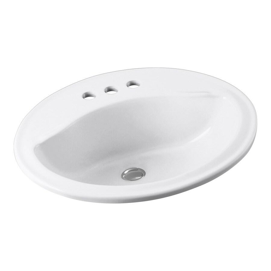 Sterling Sanibel White Drop-In Oval Bathroom Sink with Overflow