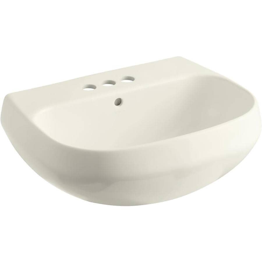 KOHLER Wellworth 22.25-in L x 18.25-in W Biscuit Vitreous China Oval Pedestal Sink Top