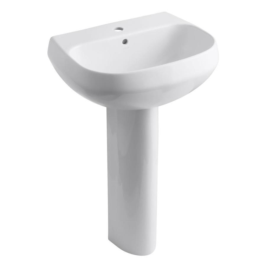 KOHLER Wellworth 34.88-in H White Vitreous China Pedestal Sink