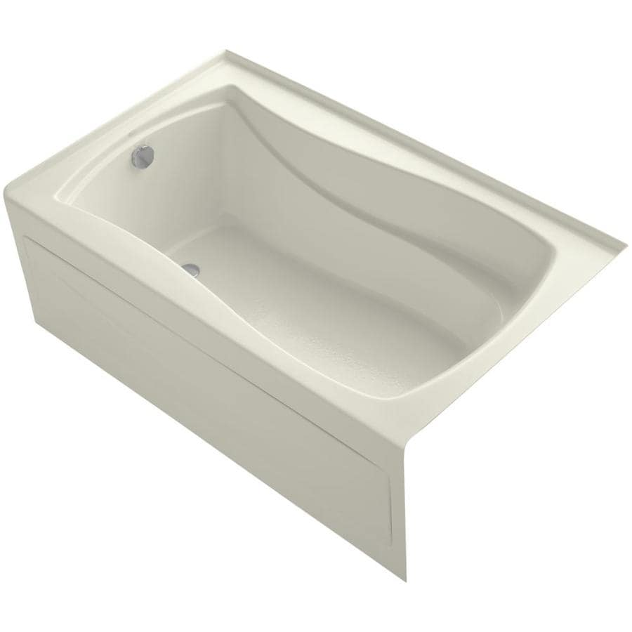 KOHLER Mariposa Biscuit Acrylic Hourglass In Rectangle Skirted Bathtub with Left-Hand Drain (Common: 36-in x 60-in; Actual: 20-in x 36-in x 60-in)