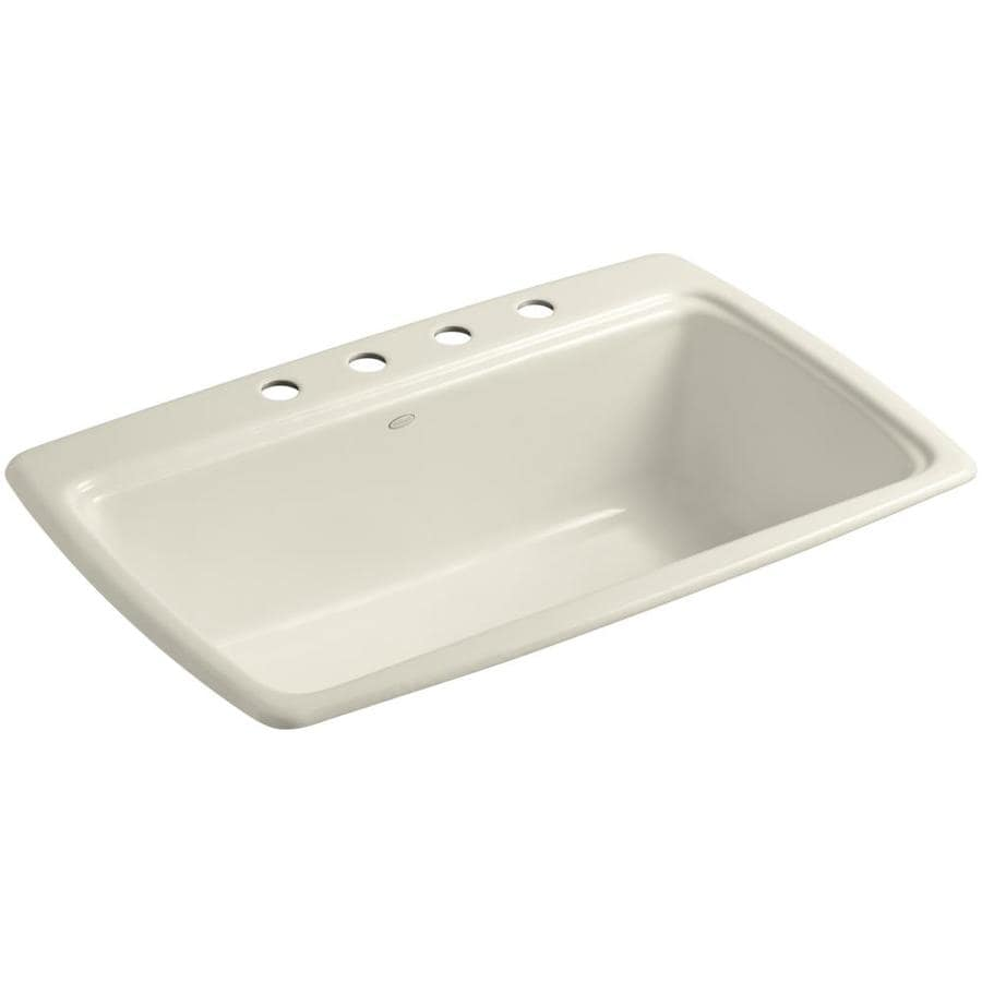 Shop kohler cape dory 22 in x 33 in almond single basin for Cast iron sink manufacturers