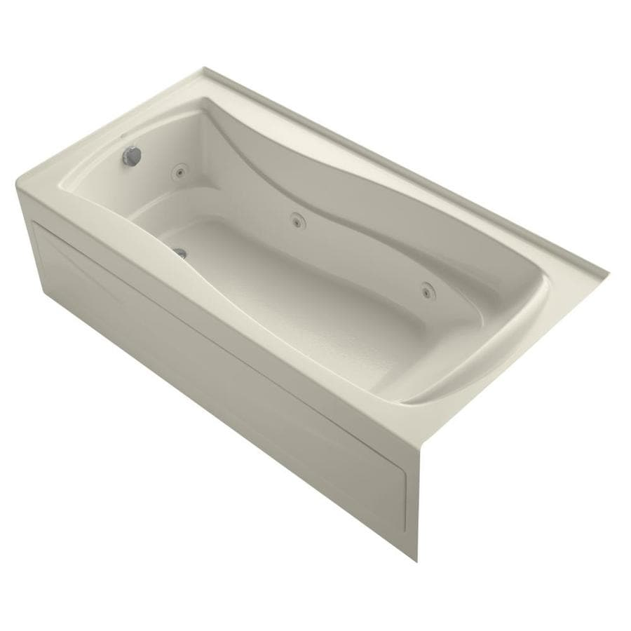 KOHLER Mariposa Almond Acrylic Hourglass In Rectangle Whirlpool Tub (Common: 36-in x 72-in; Actual: 20-in x 36-in x 72-in)