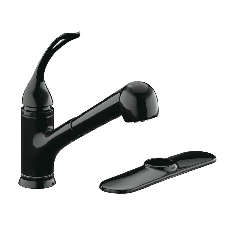 KOHLER Coralais Black Black 1-Handle Pull-Out Kitchen Faucet
