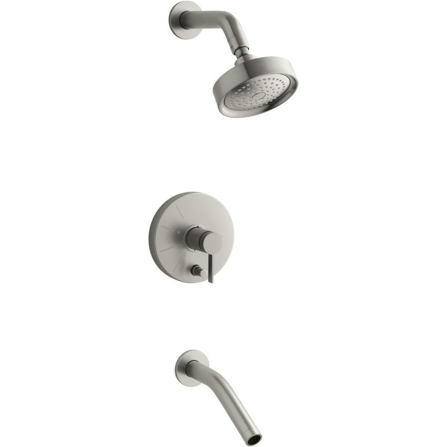 KOHLER Stillness Vibrant Brushed Nickel 1-Handle Bathtub and Shower Faucet Trim Kit with Single Function Showerhead