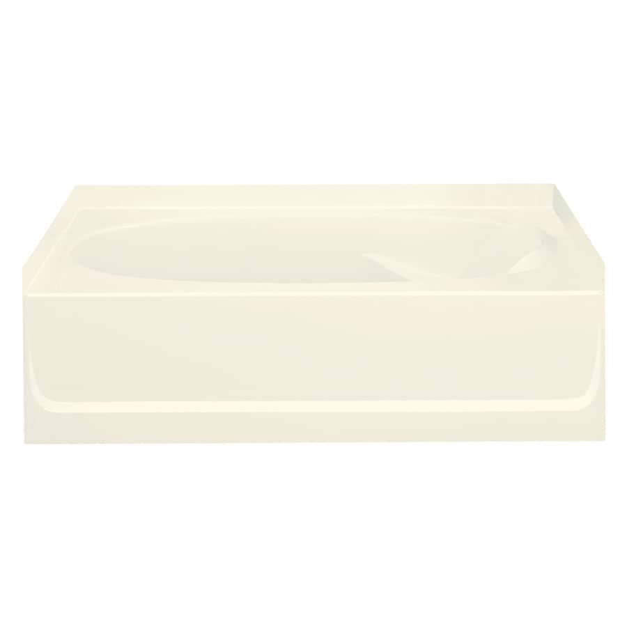 Sterling Ensemble Biscuit Fiberglass and Plastic Composite Oval In Rectangle Skirted Bathtub with Left-Hand Drain (Common: 36-in x 60-in; Actual: 16-in x 36-in x 60.25-in)
