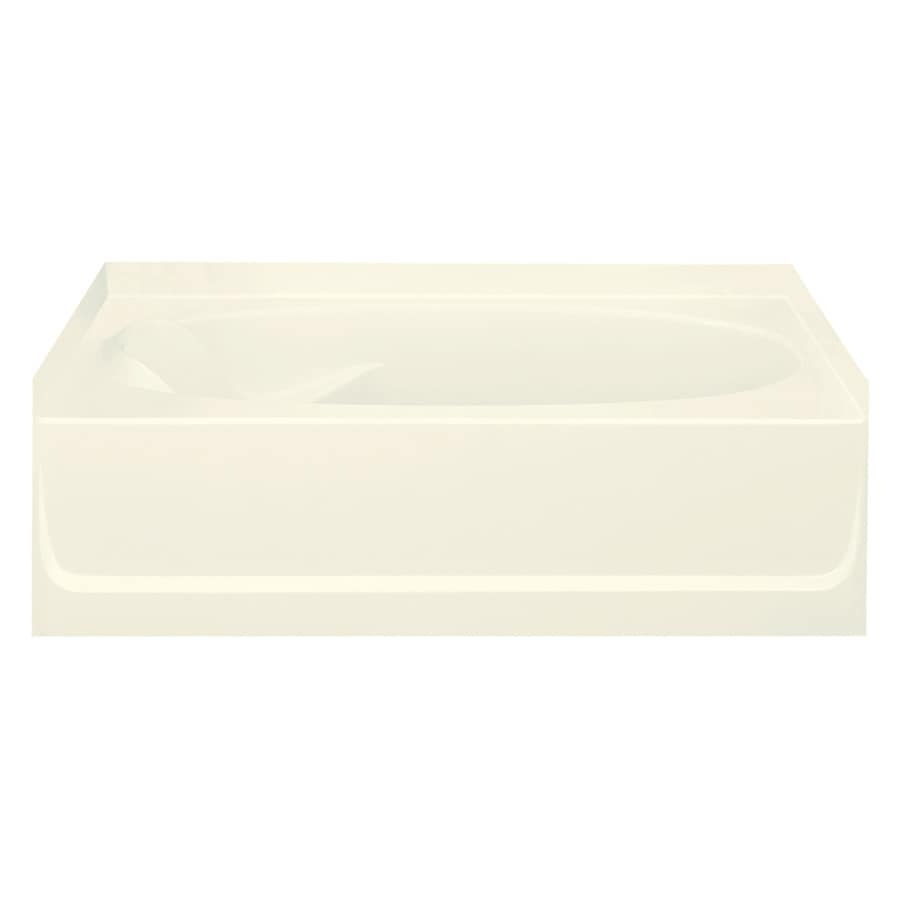Sterling Ensemble Biscuit Fiberglass and Plastic Composite Oval In Rectangle Skirted Bathtub with Right-Hand Drain (Common: 42-in x 60-in; Actual: 16-in x 42-in x 60.25-in)