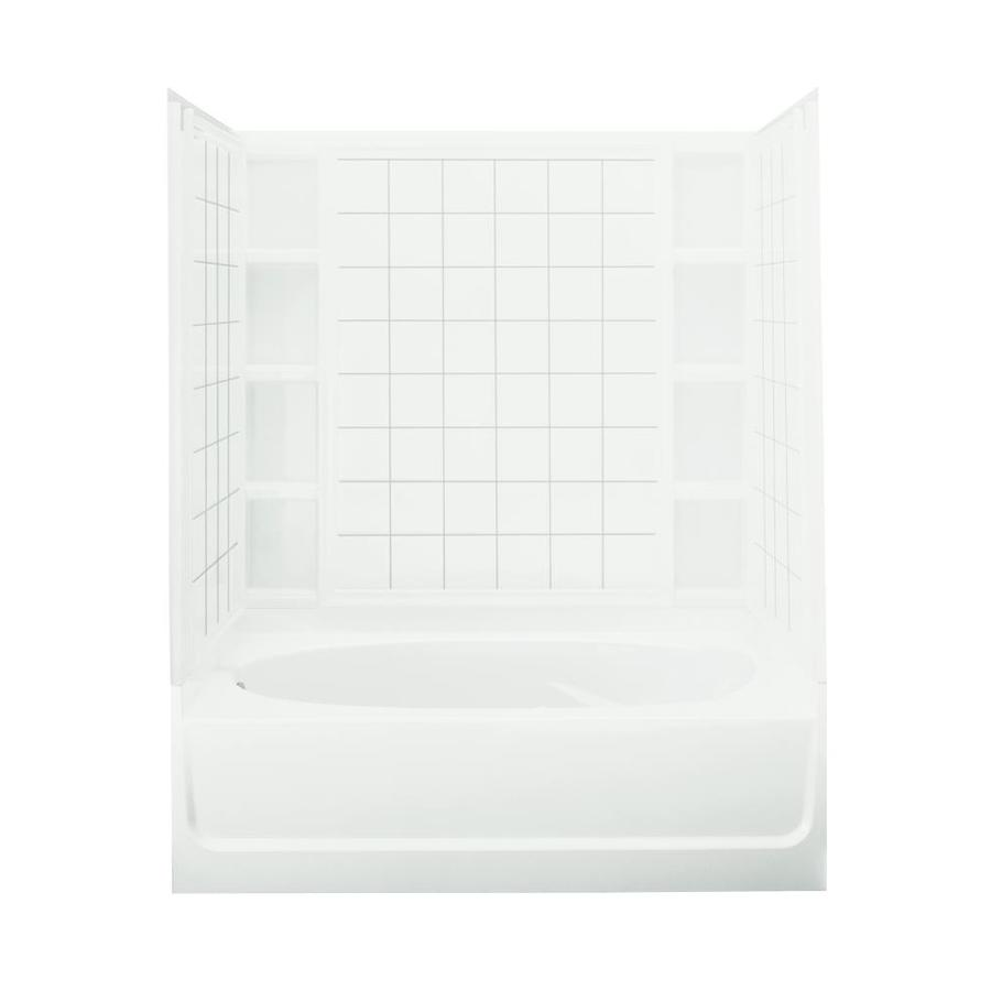 Sterling Ensemble White Fiberglass and Plastic Composite Oval In Rectangle Skirted Bathtub with Left-Hand Drain (Common: 42-in x 60-in; Actual: 72-in x 42-in x 60.25-in)