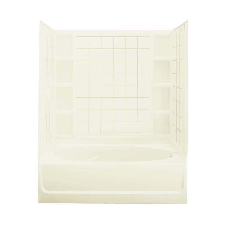 Sterling Ensemble Biscuit Fiberglass and Plastic Composite Oval In Rectangle Skirted Bathtub with Right-Hand Drain (Common: 42-in x 60-in; Actual: 72-in x 42-in x 60.25-in)