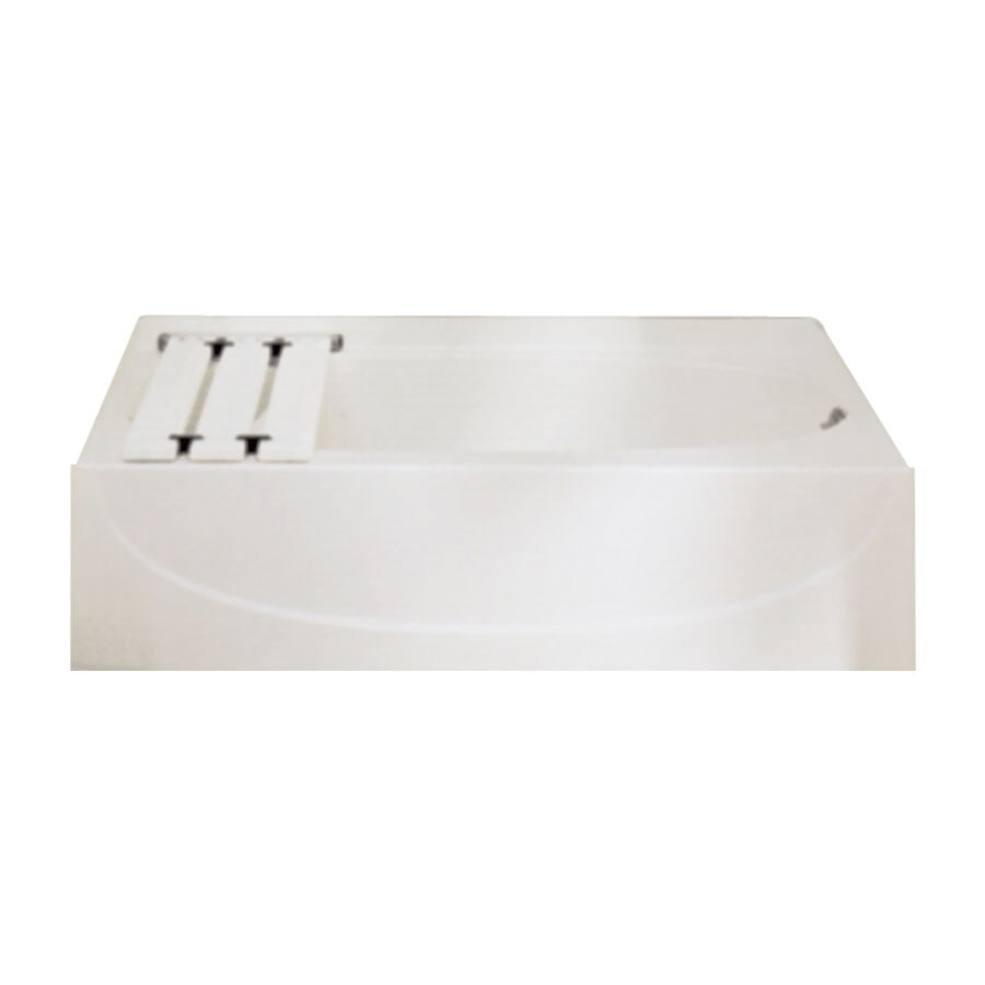 Sterling Acclaim Biscuit Fiberglass and Plastic Composite Oval In Rectangle Alcove Bathtub with Left-Hand Drain (Common: 30-in x 60-in; Actual: 15-in x 30-in x 60-in)