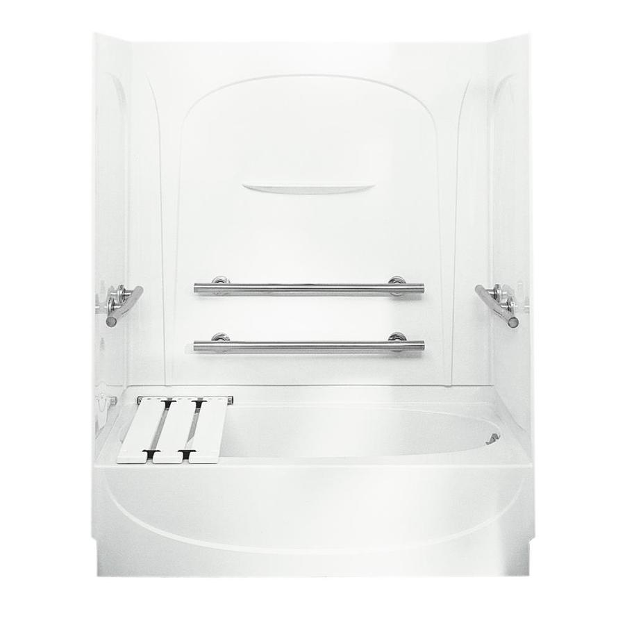 Sterling Acclaim White Fiberglass and Plastic Composite Oval In Rectangle Skirted Bathtub with Left-Hand Drain (Common: 30-in x 60-in; Actual: 72-in x 30.5-in x 60.25-in)
