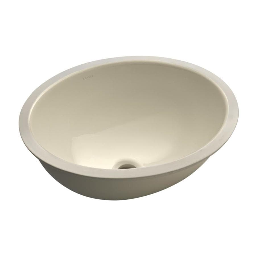 shop kohler caxton almond undermount oval bathroom sink at