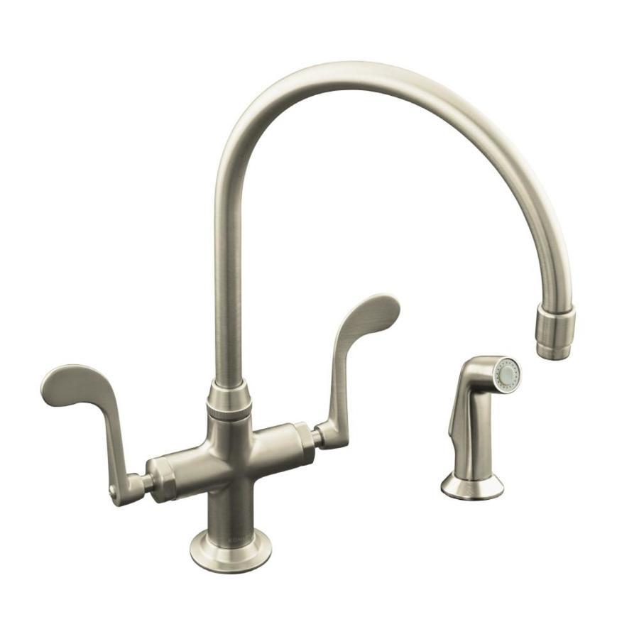 KOHLER Essex Vibrant Brushed Nickel 2-Handle High-Arc Kitchen Faucet with Side Spray