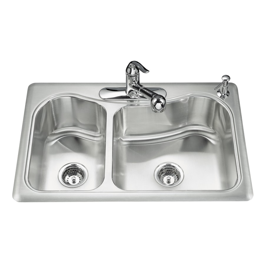 KOHLER Staccato 22-in x 33-in Stainless Steel Double-Basin Drop-in 3-Hole Residential Kitchen Sink