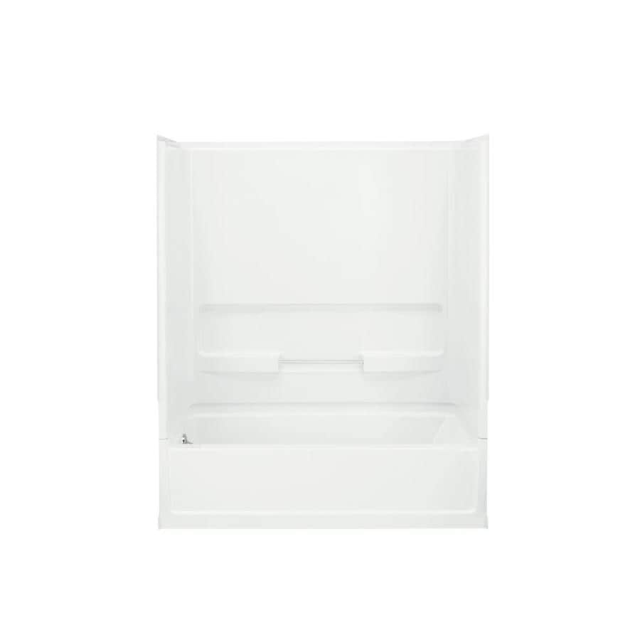 Sterling Advantage White Fiberglass and Plastic Composite Rectangular Skirted Bathtub with Left-Hand Drain (Common: 30-in x 60-in; Actual: 72-in x 30.5-in x 60.25-in)