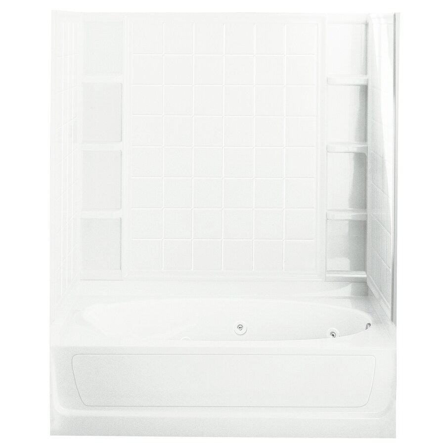 Sterling Ensemble White Vikrell Oval In Rectangle Whirlpool Tub (Common: 36-in x 60-in; Actual: 73.25-in x 36-in x 60-in)