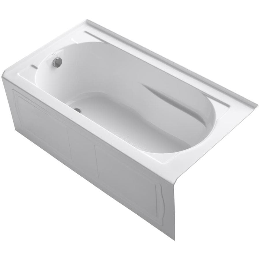 KOHLER Devonshire White Acrylic Oval In Rectangle Alcove Bathtub with Left-Hand Drain (Common: 32-in x 60-in; Actual: 20-in x 32-in x 60-in)