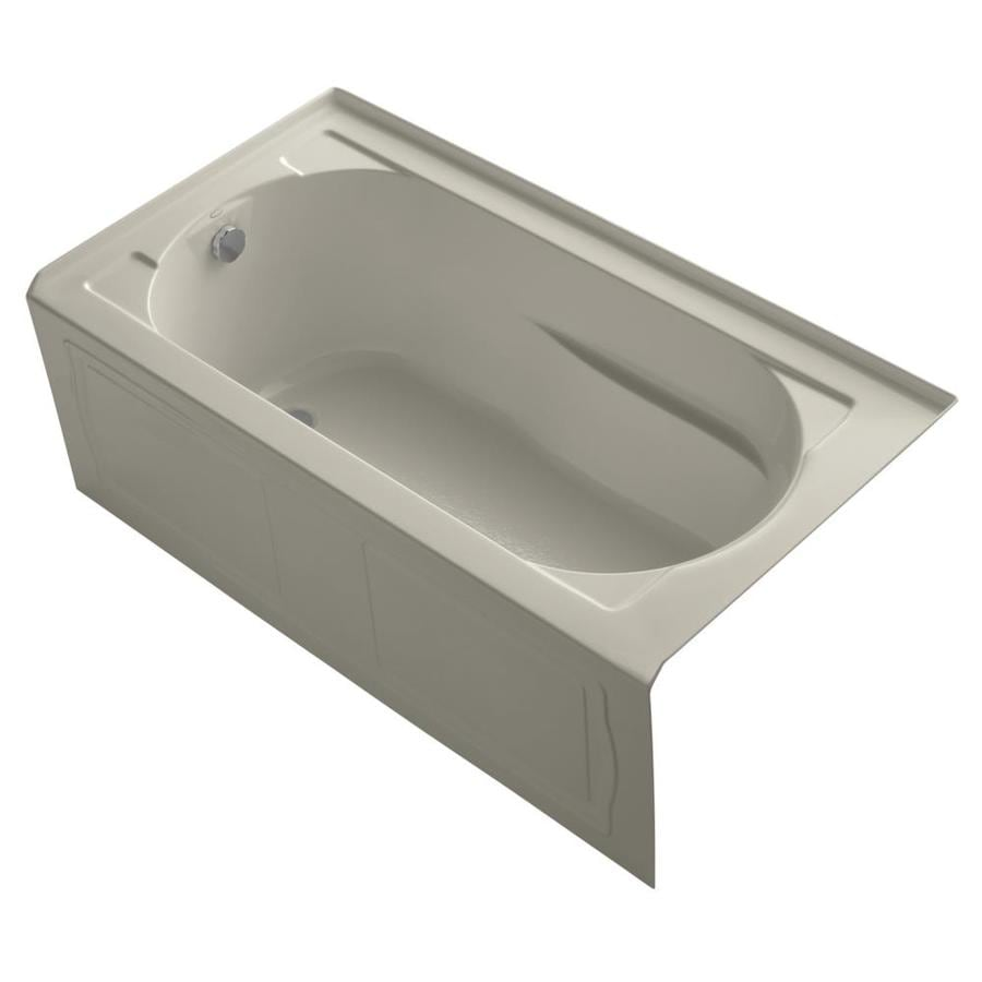 KOHLER Devonshire Sandbar Acrylic Oval In Rectangle Alcove Bathtub with Left-Hand Drain (Common: 32-in x 60-in; Actual: 20-in x 32-in x 60-in)