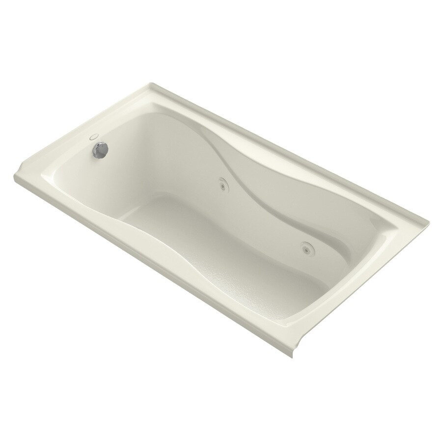 KOHLER Hourglass Biscuit Acrylic Hourglass In Rectangle Whirlpool Tub (Common: 32-in x 60-in; Actual: 20-in x 32-in x 60-in)