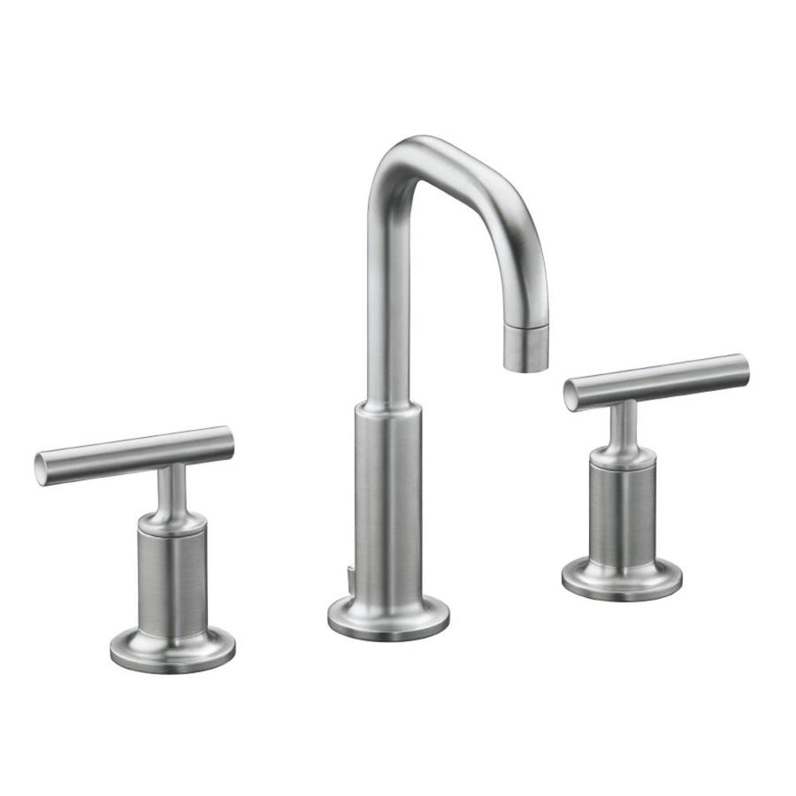 KOHLER Purist Polished Chrome 2-Handle Widespread WaterSense Bathroom Faucet (Drain Included)