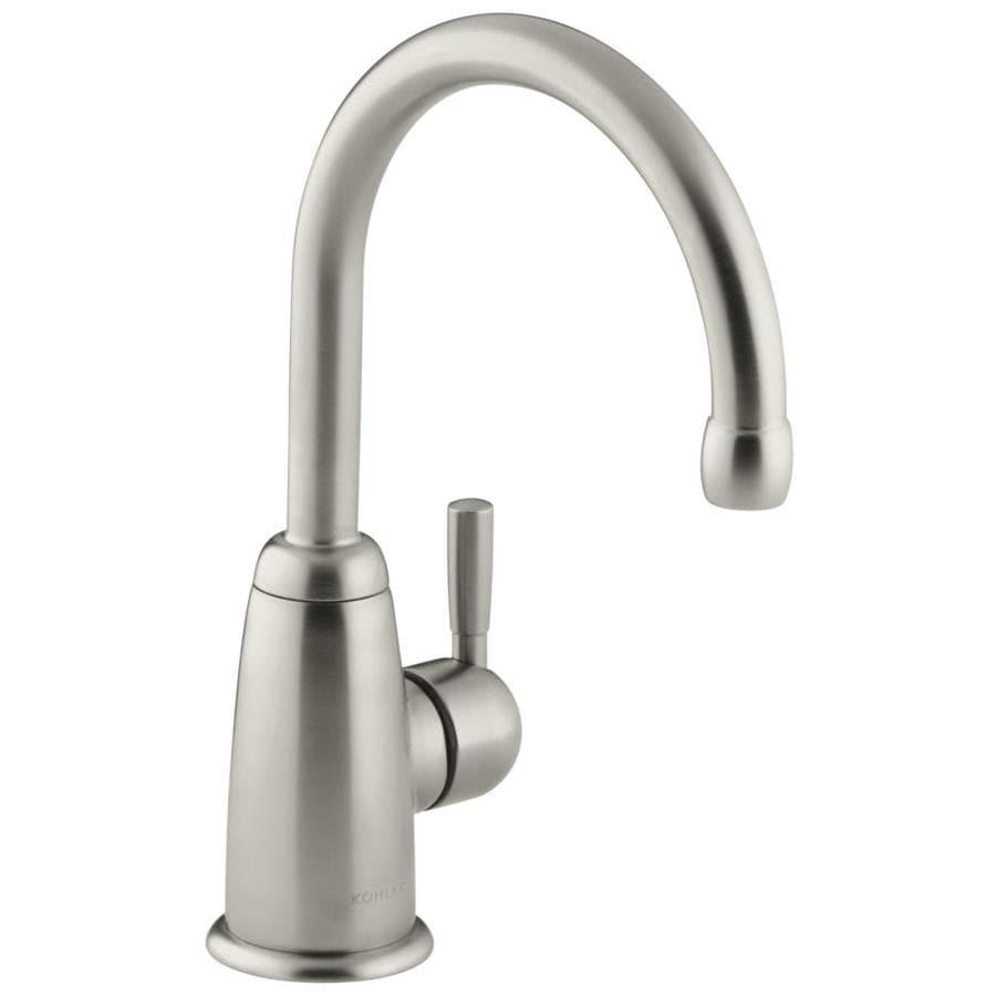 KOHLER Wellspring Vibrant Brushed Nickel 1-Handle High-Arc Kitchen Faucet