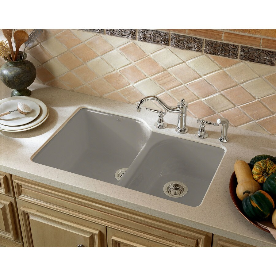 KOHLER Executive Chef 22-in x 33-in Cashmere Double-Basin Cast Iron Undermount 4-Hole Residential Kitchen Sink